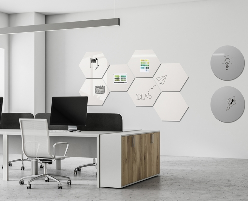 Chameleon whiteboards shapes round six-square concept